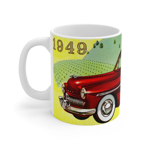 1949 Mercury Woody Station Wagon White Ceramic Mug by SpeedTiques