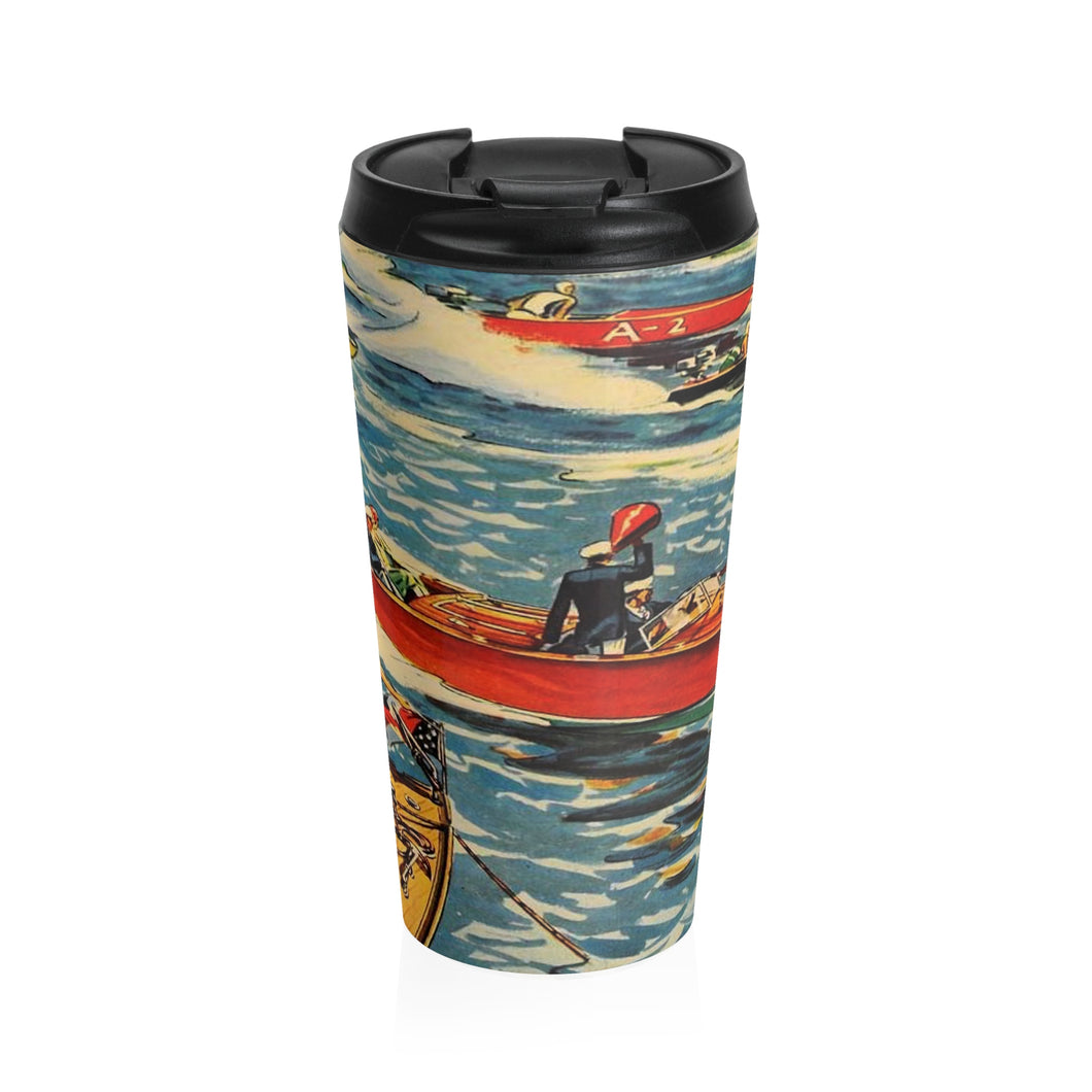Vintage Boat Race by Retro Boater Stainless Steel Travel Mug