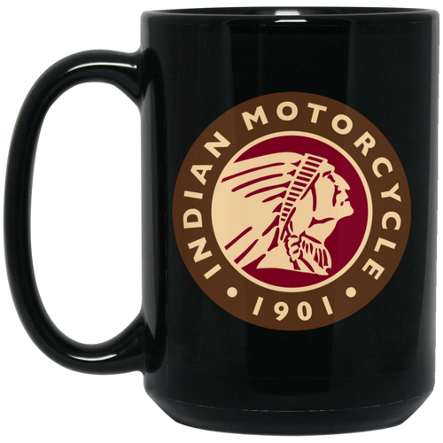 1901 Vintage Indian Motorcycle BM15OZ 15 oz. Black Mug