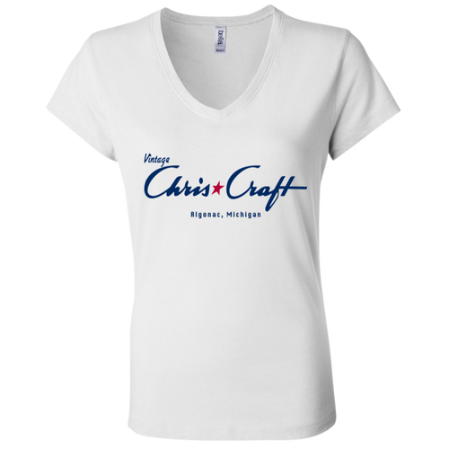 Vintage Chris Craft Algonac, Michigan B6005 Ladies' Jersey V-Neck T-Shirt