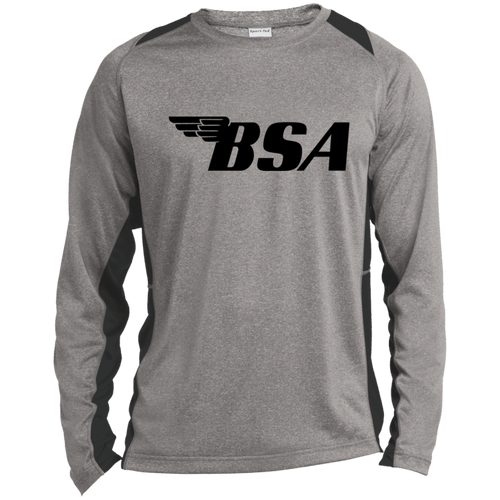 Vintage BSA Motorcycles Long Sleeve Heather Colorblock Poly T-Shirt
