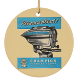 Champion Engine Co. Ceramic Circle Ornament
