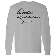Woodies Restorations Logo in white outline G540 Gildan LS T-Shirt 5.3 oz.