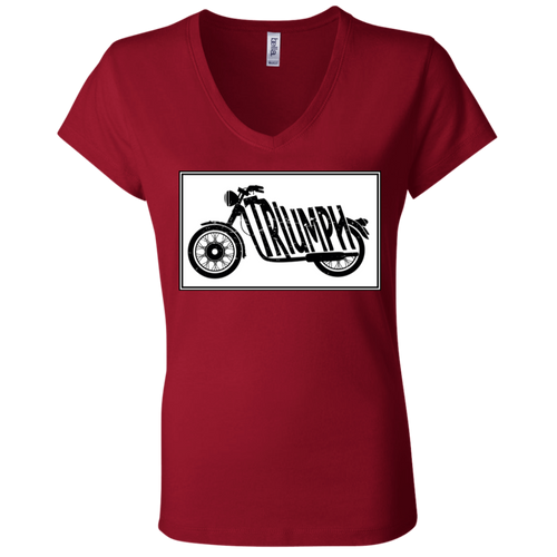 Vintage Triumph Motorcycle B6005 Ladies' Jersey V-Neck T-Shirt