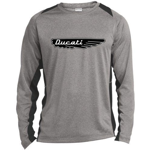 Vintage Ducati Motorcycle Long Sleeve Heather Colorblock Poly T-Shirt