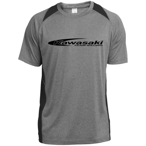 Vintage Kawasaki Motorcycle Racing Heather Colorblock Poly T-Shirt