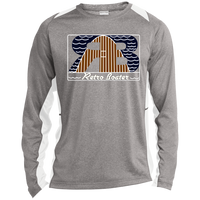 Retro Boater Logo with Letters ST361LS Sport-Tek LS Heather Colorblock Poly T-Shirt