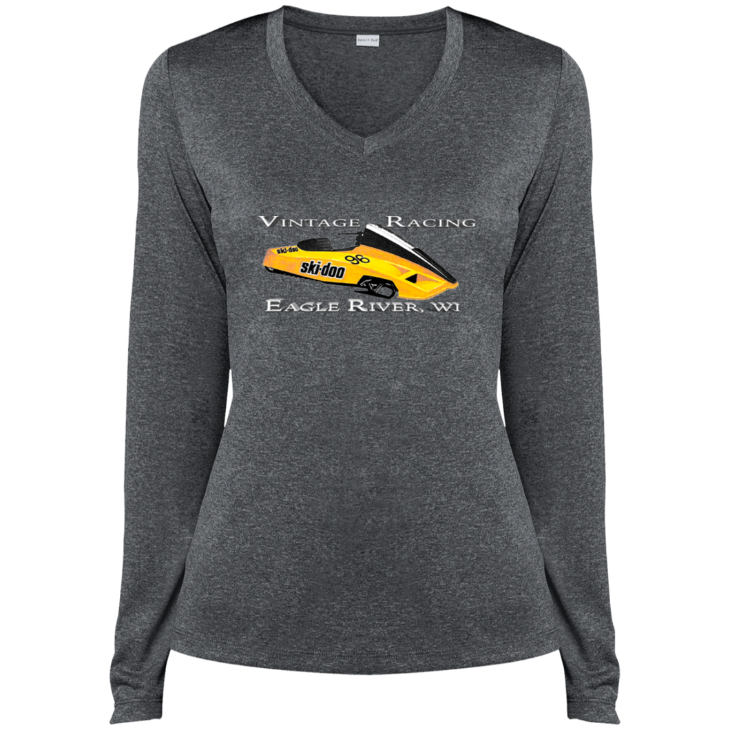 Vintage SKI-DOO 1981 Twin Track Sport-Tek Ladies' LS Heather Dri-Fit V-Neck T-Shirt