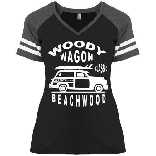 Speedtiques Woody Wagon District Ladies' Game V-Neck T-Shirt