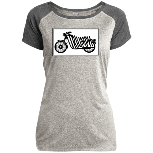 Vintage Triumph Motorcycle Ladies Heather on Heather Performance T-Shirt