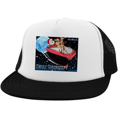 Santas Got A Brand New Ride! by Retro Boater District Trucker Hat with Snapback