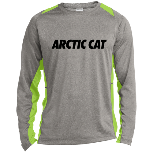 Vintage Arctic Cat Snowmobile Long Sleeve Heather Colorblock Poly T-Shirt