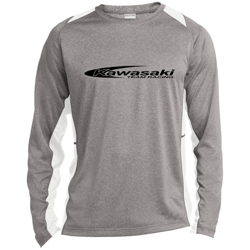 Vintage Kawasaki Motorcycle Racing Long Sleeve Heather Colorblock Poly T-Shirt