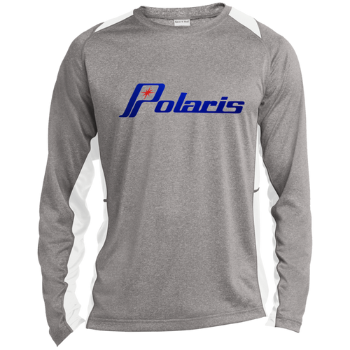 Vintage Polaris Snowmobile Long Sleeve Heather Colorblock Poly T-Shirt