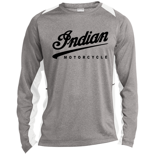 Vintage Indian Motorcycle Long Sleeve Heather Colorblock Poly T-Shirt