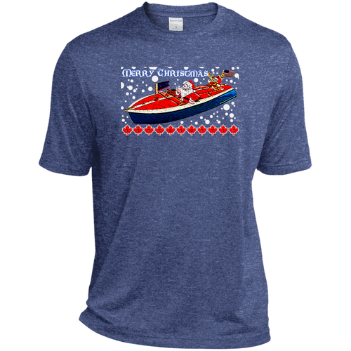 Santa and Rudolph take a Chris Craft Cruise  Sport-Tek Heather Dri-Fit Moisture-Wicking T-Shirt