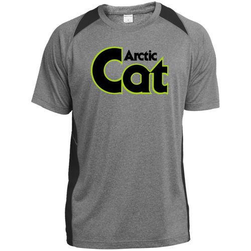 Vintage Arctic Cat Snowmobile Heather Colorblock Poly T-Shirt