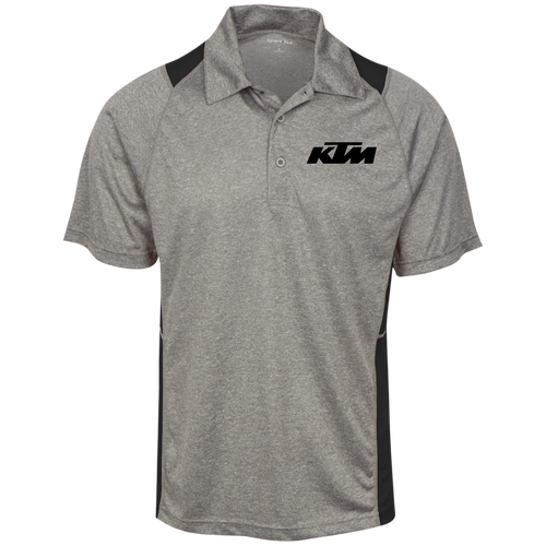 Classic Style in Black KTM Motorcycle Heather Moisture Wicking Polo