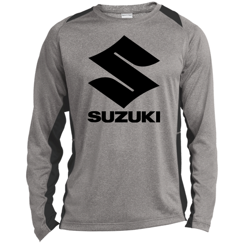 Vintage Suzuki Motorcycle ATV Long Sleeve Heather Colorblock Poly T-Shirt