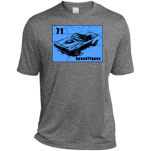 1971 Plymouth Cuda by SpeedTiques ST360 Sport-Tek Heather Dri-Fit Moisture-Wicking T-Shirt