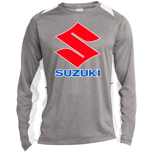 Vintage Suzuki ATV Motorcycle Long Sleeve Heather Colorblock Poly T-Shirt