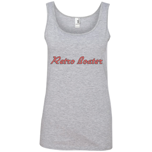 Retro Boater in Red/Grey Outline 882L Anvil Ladies' 100% Ringspun Cotton Tank Top