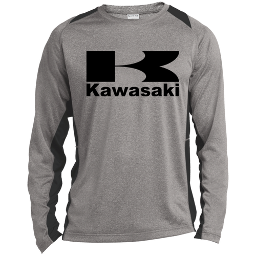 Vintage Kawasaki Motorcycle Long Sleeve Heather Colorblock Poly T-Shirt