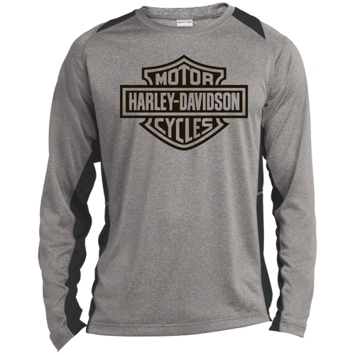 Leslie Motorcycle Long Sleeve Heather Colorblock Poly T-Shirt