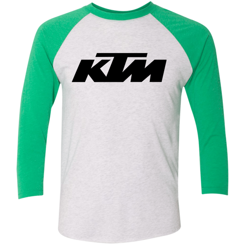 Classic Style in Black KTM Motorcycle Tri-Blend 3/4 Sleeve Raglan T-Shirt