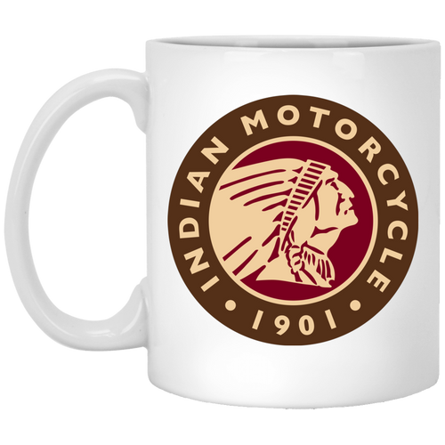 1901 Vintage Indian Motorcycle XP8434 11 oz. White Mug