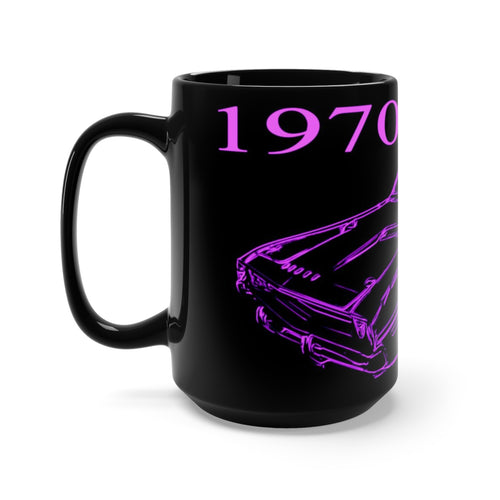 1970 Dodge Challenger Black Mug 15oz by SpeedTiques