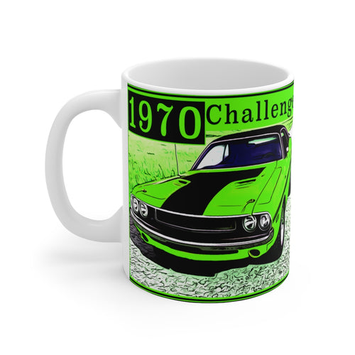 1970 Challenger in Sublime White Ceramic Mug by SpeedTiques