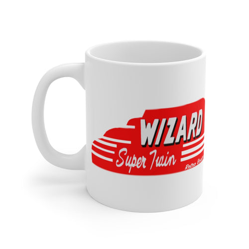 1949 Wizard Super Twin Outboard Engine White Ceramic Mug by Retro Boater