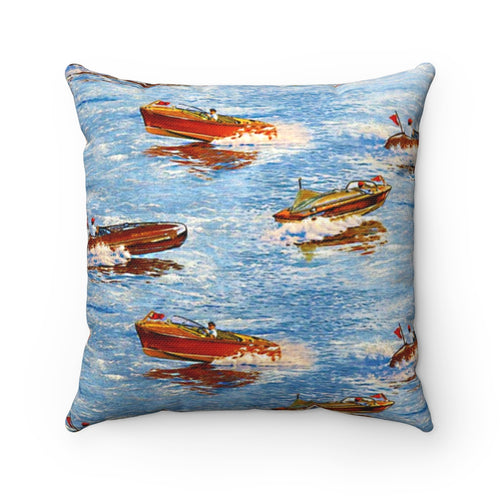 Vintage Chris Craft Spun Polyester Square Pillow by Retro Boater