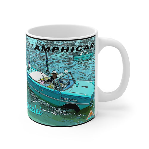 Stephen Motzko with Lorelei the Amphicar Mug 11oz by Retro Boater