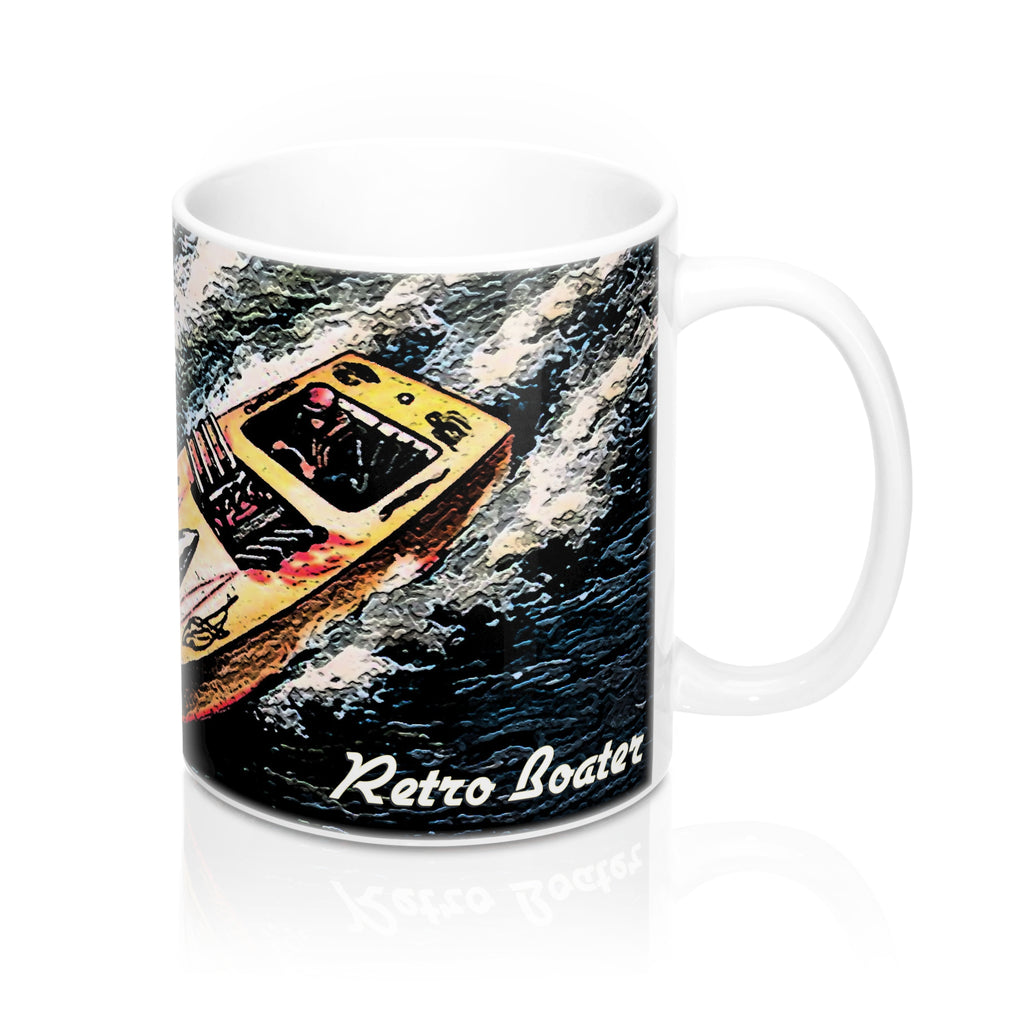 Chris Craft Runabout Racing a Mahogany Muscle Boat Mug 11oz