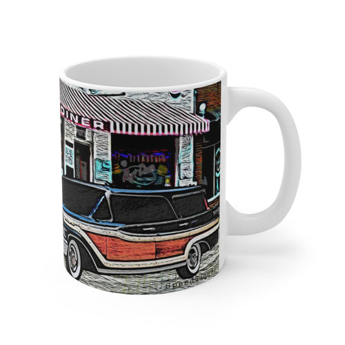1958 Mercury Station Wagon White Ceramic Mug by SpeedTiques