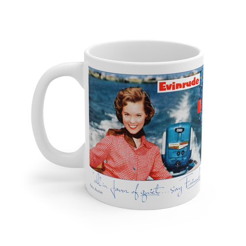 Vintage Evinrude Outboard Girl White Ceramic Mug by Retro Boater