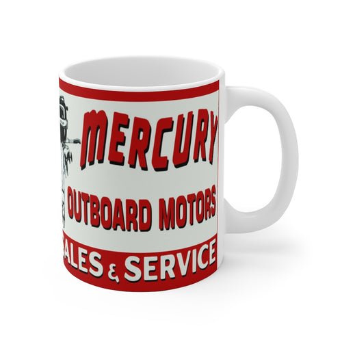 Vintage Mercury Outboard Motors White Ceramic Mug by Retro Boater