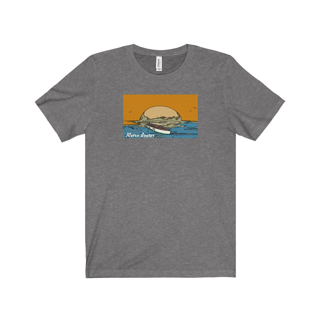 Vintage Racers in the Sunset by Retro Boater Unisex Jersey Short Sleeve Tee