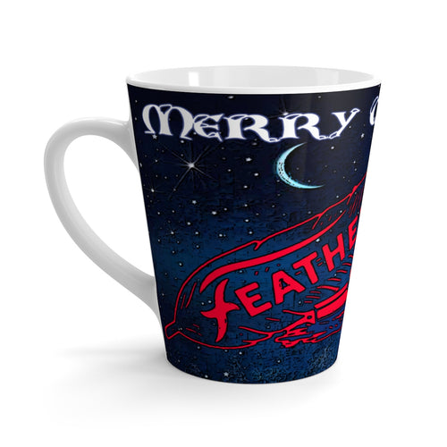 Merry Christmas Feathercraft Latte mug by Retro Boater