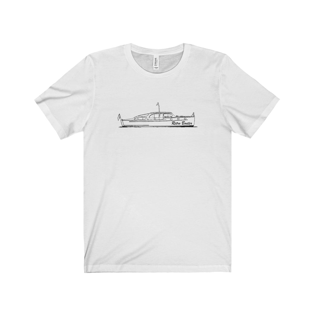 Vintage Yacht Drawing Unisex Jersey Short Sleeve Tee