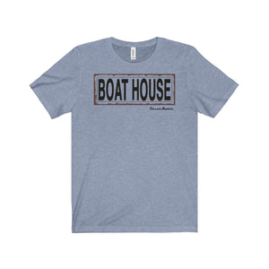 Old Boathouse Sign from Northern WI Unisex Jersey Short Sleeve Tee