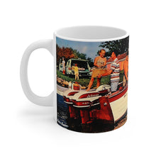 Antique Twin Johnson Sea-Horse Outboards on a Vintage Thompson Boat Mug 11oz by Retro Boater