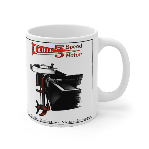 Caille 5 Speed Outboard Motor White Ceramic Mug by Retro Boater
