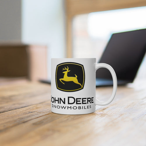 Vintage John Deere Snowmobiles White Ceramic Mug by SpeedTiques