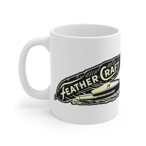 Feather Craft Boats White Ceramic Mug by Retro Boater
