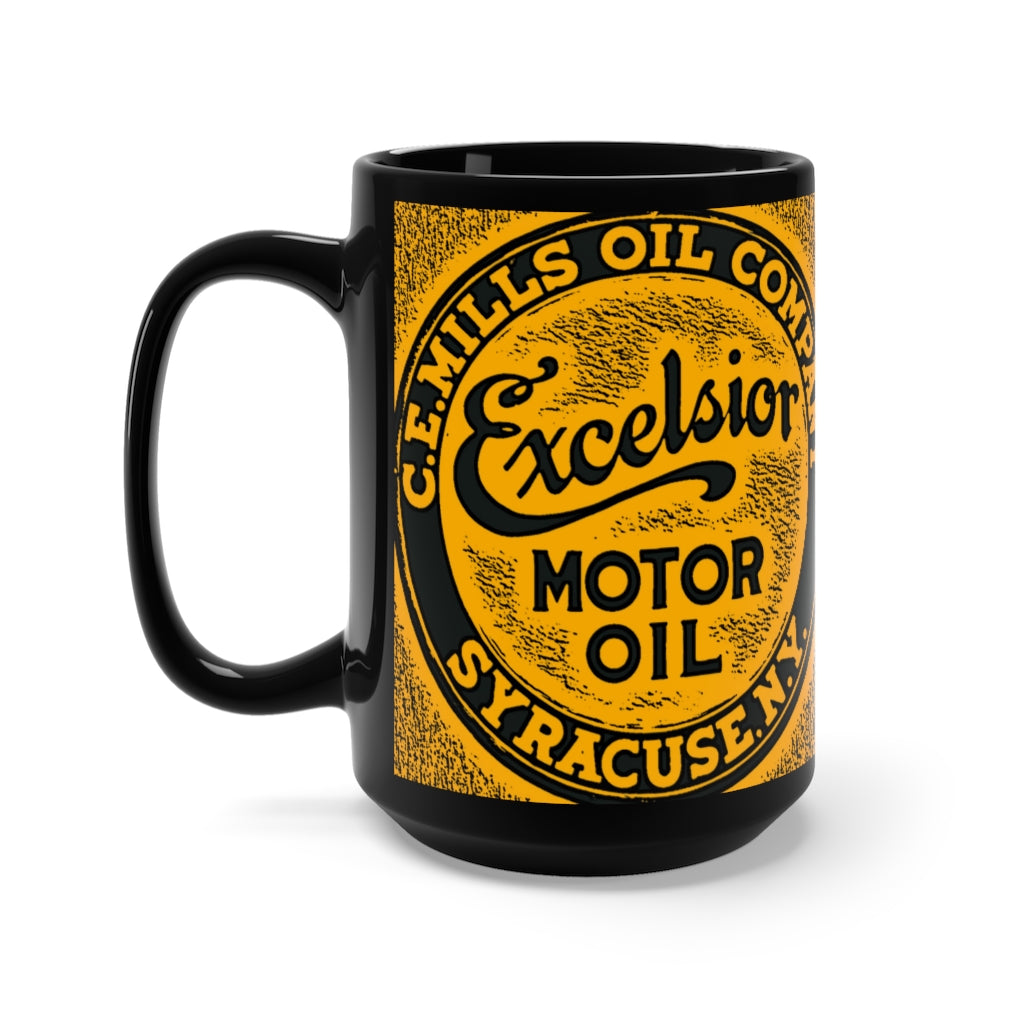 C.E. Mills Oil Company Excelsior Motor Oil Black Mug 15oz by SpeedTiques