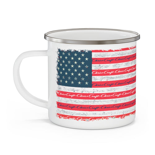 Vintage Distressed Style American Flag with Chris Craft Boat Enamel Camping Mug