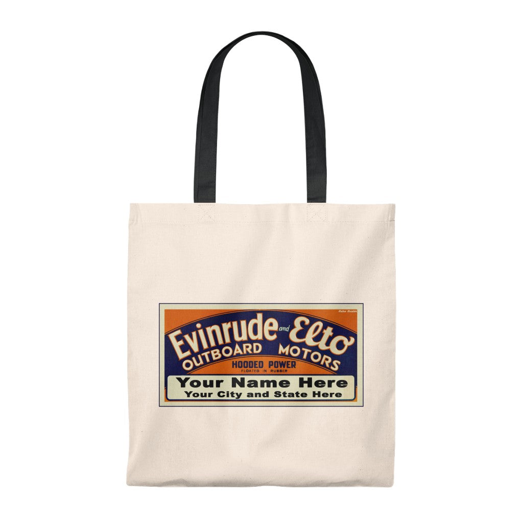 Custom Evinrude and Elto Outboard Boat Motors Tote Bag - Vintage by Retro Boater